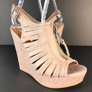 Not Rated Saucin Open Toe Canvas Wedge Sandals